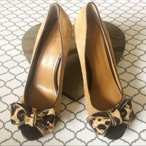 ❤️ B. Makowsky Suede With Leopard Bow Heels (7.5)